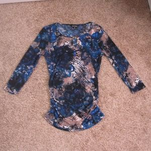 Ellen Tracy Fitted Blue Patterned Key Hole Top